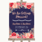Navy Blue Blush Rose Gold We Are Getting Married Customised Wedding Sign