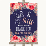 Navy Blue Blush Rose Gold Cards & Gifts Table Customised Wedding Sign