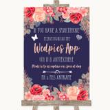 Navy Blue Blush Rose Gold Wedpics App Photos Customised Wedding Sign