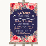 Navy Blue Blush Rose Gold Welcome Order Of The Day Customised Wedding Sign