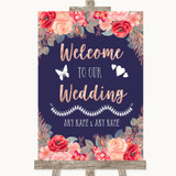 Navy Blue Blush Rose Gold Welcome To Our Wedding Customised Wedding Sign
