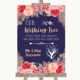 Navy Blue Blush Rose Gold Wishing Tree Customised Wedding Sign