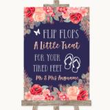 Navy Blue Blush Rose Gold Flip Flops Dancing Shoes Customised Wedding Sign