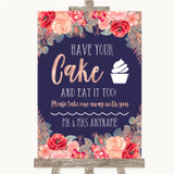 Navy Blue Blush Rose Gold Have Your Cake & Eat It Too Customised Wedding Sign