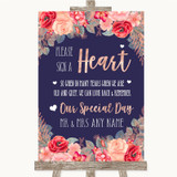 Navy Blue Blush Rose Gold Sign a Heart Customised Wedding Sign