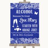 Navy Blue Burlap & Lace Alcohol Bar Love Story Customised Wedding Sign