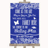 Navy Blue Burlap & Lace All Family No Seating Plan Customised Wedding Sign