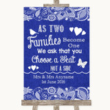 Navy Blue Burlap & Lace As Families Become One Seating Plan Wedding Sign
