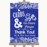 Navy Blue Burlap & Lace Cards & Gifts Table Customised Wedding Sign