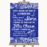 Navy Blue Burlap & Lace Cheese Board Song Customised Wedding Sign