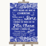 Navy Blue Burlap & Lace Cheesecake Cheese Song Customised Wedding Sign