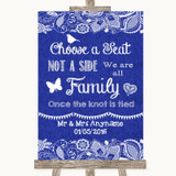 Navy Blue Burlap & Lace Choose A Seat We Are All Family Wedding Sign