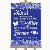 Navy Blue Burlap & Lace Dad Walk Down The Aisle Customised Wedding Sign