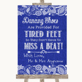 Navy Blue Burlap & Lace Dancing Shoes Flip-Flop Tired Feet Wedding Sign
