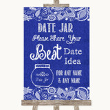 Navy Blue Burlap & Lace Date Jar Guestbook Customised Wedding Sign