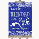 Navy Blue Burlap & Lace Don't Be Blinded Sunglasses Customised Wedding Sign