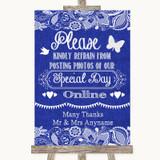 Navy Blue Burlap & Lace Don't Post Photos Online Social Media Wedding Sign