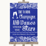 Navy Blue Burlap & Lace Drink Champagne Dance Stars Customised Wedding Sign