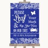 Navy Blue Burlap & Lace Fingerprint Tree Instructions Customised Wedding Sign