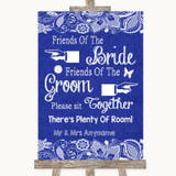 Navy Blue Burlap & Lace Friends Of The Bride Groom Seating Wedding Sign