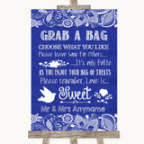 Navy Blue Burlap & Lace Grab A Bag Candy Buffet Cart Sweets Wedding Sign