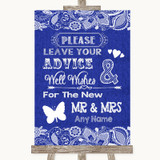 Navy Blue Burlap & Lace Guestbook Advice & Wishes Mr & Mrs Wedding Sign