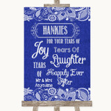 Navy Blue Burlap & Lace Hankies And Tissues Customised Wedding Sign