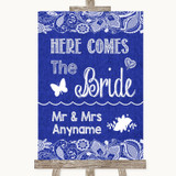 Navy Blue Burlap & Lace Here Comes Bride Aisle Sign Customised Wedding Sign