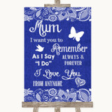 Navy Blue Burlap & Lace I Love You Message For Mum Customised Wedding Sign