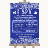 Navy Blue Burlap & Lace I Spy Disposable Camera Customised Wedding Sign