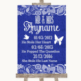 Navy Blue Burlap & Lace Important Special Dates Customised Wedding Sign