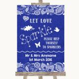 Navy Blue Burlap & Lace Let Love Sparkle Sparkler Send Off Wedding Sign