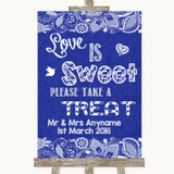 Navy Blue Burlap & Lace Love Is Sweet Take A Treat Candy Buffet Wedding Sign