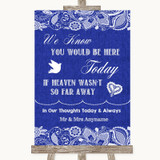 Navy Blue Burlap & Lace Loved Ones In Heaven Customised Wedding Sign