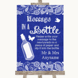 Navy Blue Burlap & Lace Message In A Bottle Customised Wedding Sign