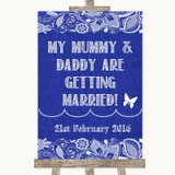 Navy Blue Burlap & Lace Mummy Daddy Getting Married Customised Wedding Sign