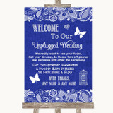 Navy Blue Burlap & Lace No Phone Camera Unplugged Customised Wedding Sign
