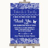 Navy Blue Burlap & Lace Photo Guestbook Friends & Family Wedding Sign
