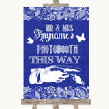 Navy Blue Burlap & Lace Photobooth This Way Right Customised Wedding Sign