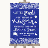 Navy Blue Burlap & Lace Plant Seeds Favours Customised Wedding Sign