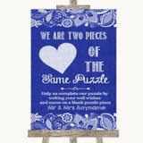 Navy Blue Burlap & Lace Puzzle Piece Guest Book Customised Wedding Sign