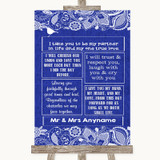 Navy Blue Burlap & Lace Romantic Vows Customised Wedding Sign