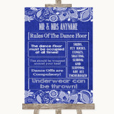 Navy Blue Burlap & Lace Rules Of The Dance Floor Customised Wedding Sign