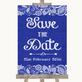 Navy Blue Burlap & Lace Save The Date Customised Wedding Sign
