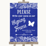 Navy Blue Burlap & Lace Signing Frame Guestbook Customised Wedding Sign
