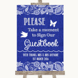 Navy Blue Burlap & Lace Take A Moment To Sign Our Guest Book Wedding Sign