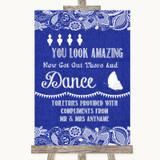Navy Blue Burlap & Lace Toiletries Comfort Basket Customised Wedding Sign