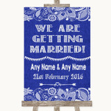 Navy Blue Burlap & Lace We Are Getting Married Customised Wedding Sign