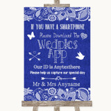 Navy Blue Burlap & Lace Wedpics App Photos Customised Wedding Sign