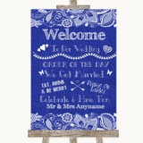 Navy Blue Burlap & Lace Welcome Order Of The Day Customised Wedding Sign
